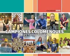 Portada del {'Calendari} de les dones 2015' dedicat a les esportistes colomenques.