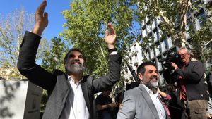 Jordi Cuixart y Jordi Sànchez acuden a declarar a la Audiencia Nacional, el 6 de octubre del 2017.