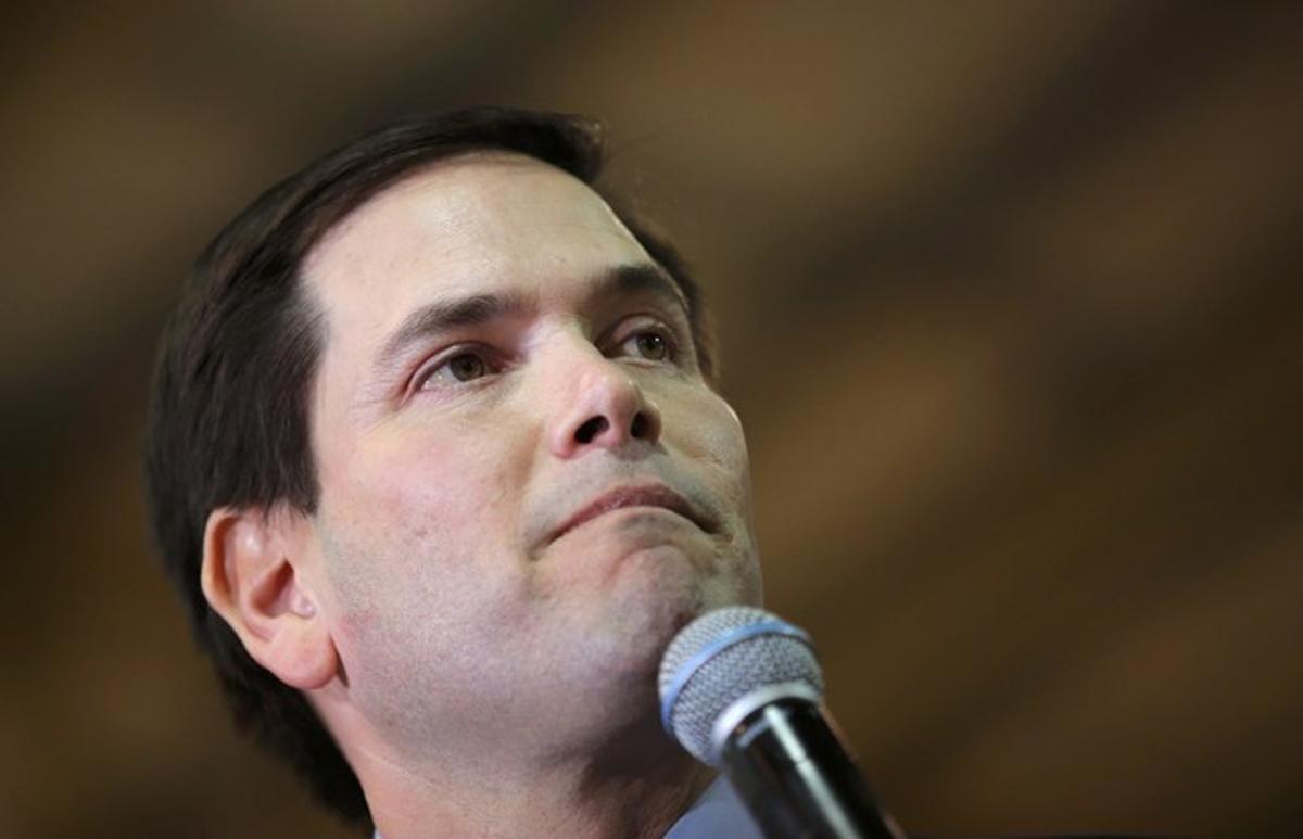 Marco Rubio, tras conocer los resultados del Supermartes, en Miami (Florida).