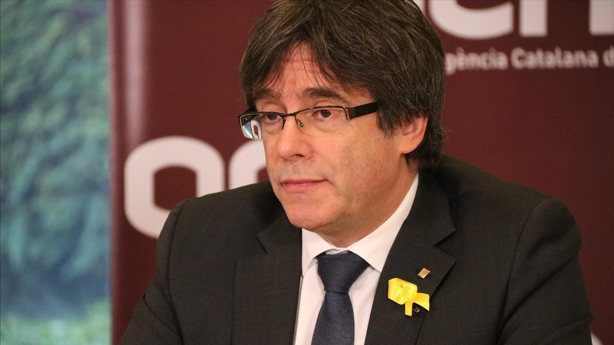 Puigdemont, en una rueda de prensa por videoconferencia desde Bruselas.