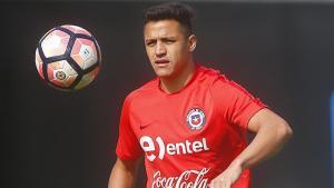 Alexis Sánchez en un entrenamiento de la selección chilena.