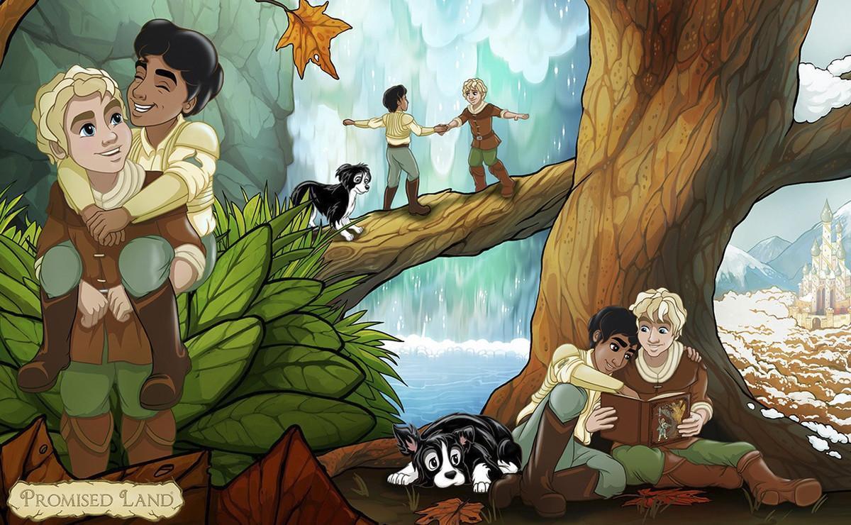 'Promise Land' tiene todos los elementos de un cuento: aventura, héroes, villanos e incluso una simpática mascota. Además, los protagonistas son dos chicos que se enamoran.