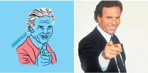 Una de las ilustraciones del cartel del Memefest junto al meme que reproduce, el de Julio Iglesias