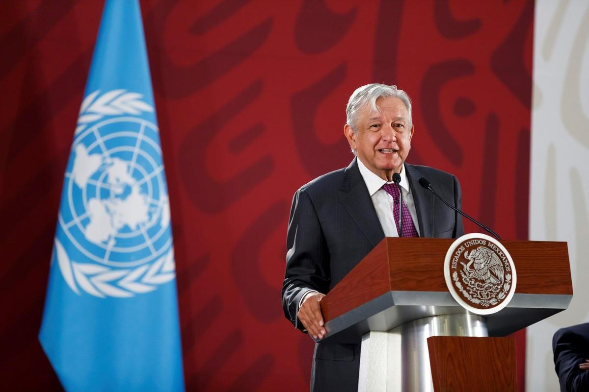 El presidente de Mexico,Andrés Manuel López Obrador,en rueda de prensa.