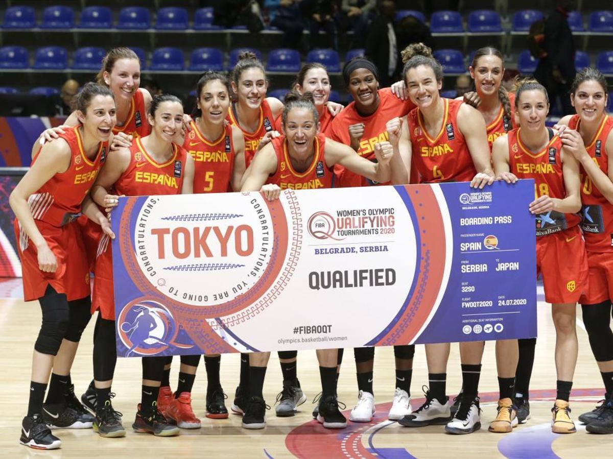 Las jugadoras españolas, celebrando el pase que las llevó a Tokio 2020.