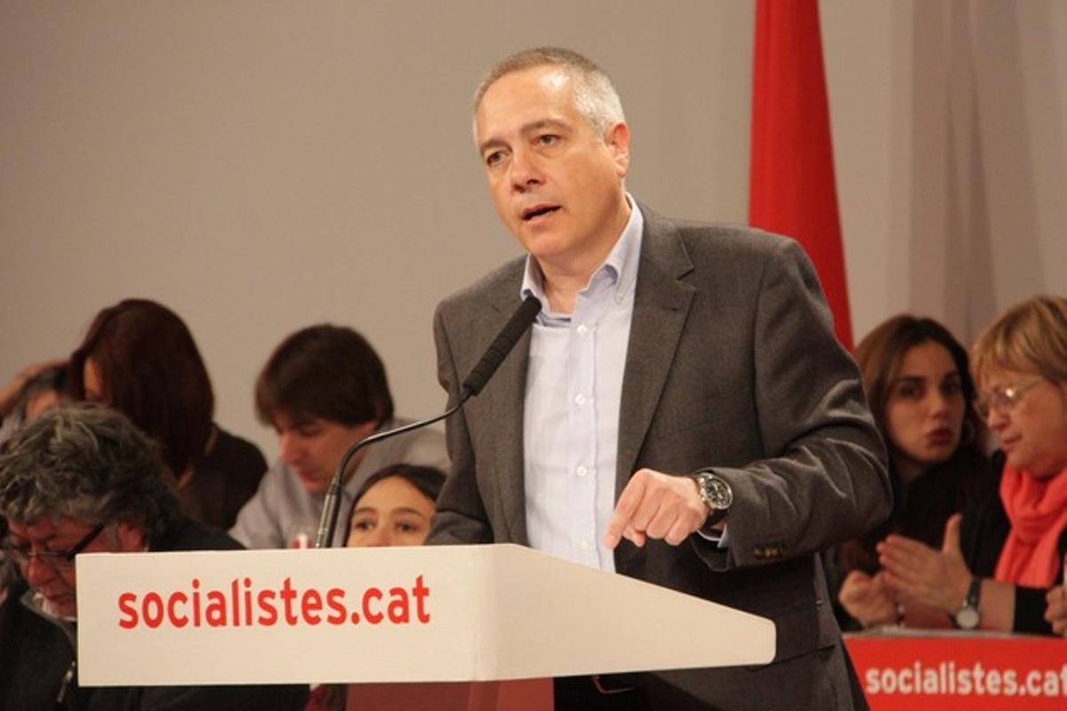 Pere Navarro, duranteun consell nacional del PSC, este sábado.