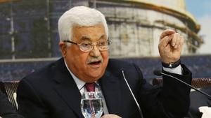 El presidente palestino, Mahmud Abás, durante su intervención en el Congreso Nacional Palestino.