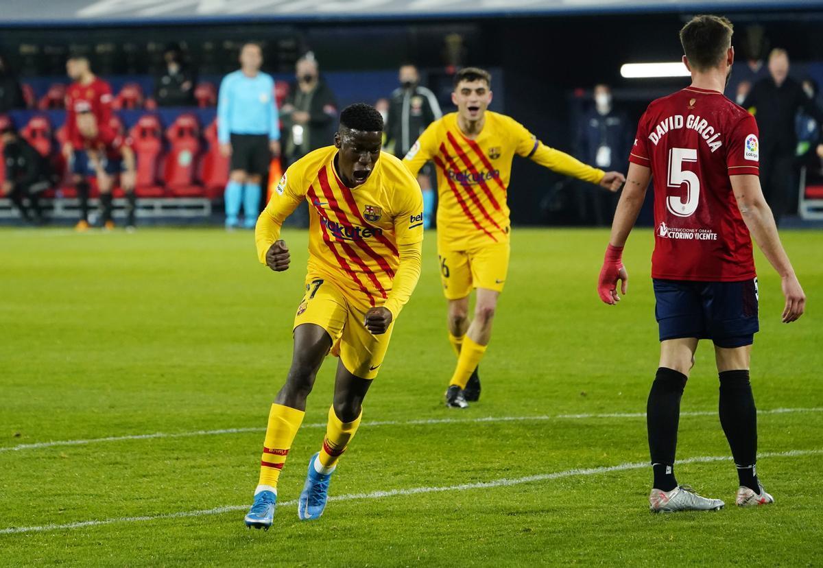Ilaix celebra su primer gol con el primer equipo.