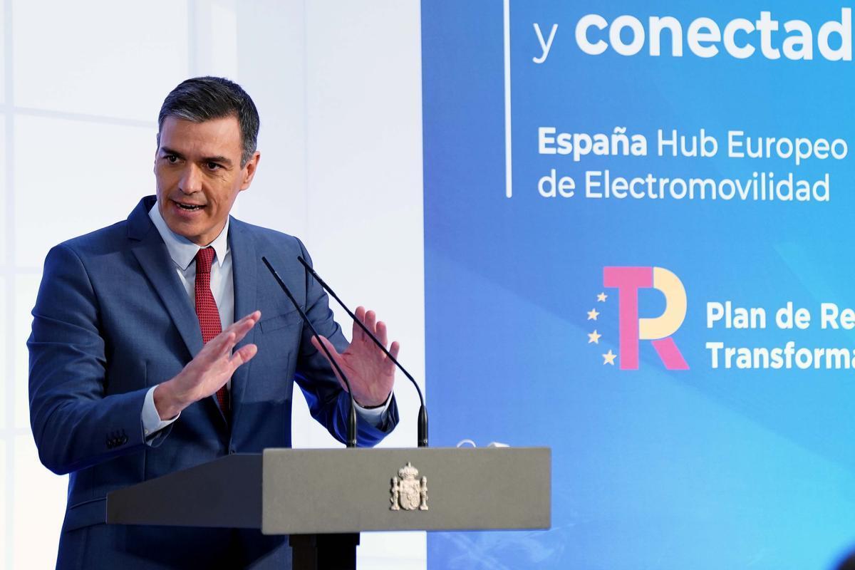 Pedro Sanchez durante la presentación del PERTE.