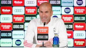 El entrenador del Real Madrid, Zinedine Zidane, este miércoles en rueda de prensa.