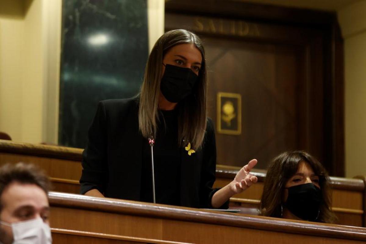 La portavoz de Junts en el Congreso, Míriam Nogueras, durante la sesión de control al Gobierno este 29 de septiembre de 2021 en la Cámara baja.