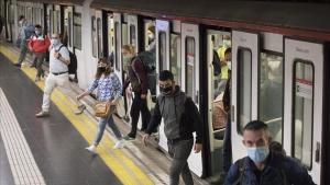 Estación de Espanya de la línea 1 del metro, en Barcelona.