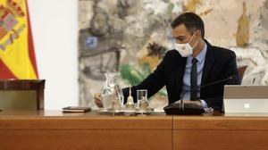 El presidente del Gobierno, Pedro Sánchez, en un momento de la primera reunión del Consejo de Ministros tras las vacaciones, el pasado 25 de agosto.