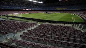 Las gradas del Camp Nou vacías, en Barça-Eibar, último partido disputado.