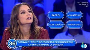Andrea Levy, en 'Pasapalabra' (Tele 5).