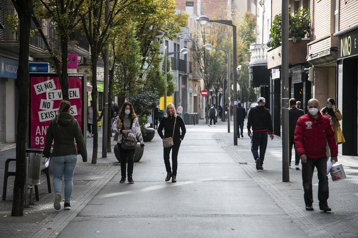 Zona peatonal con comercios de Rubí