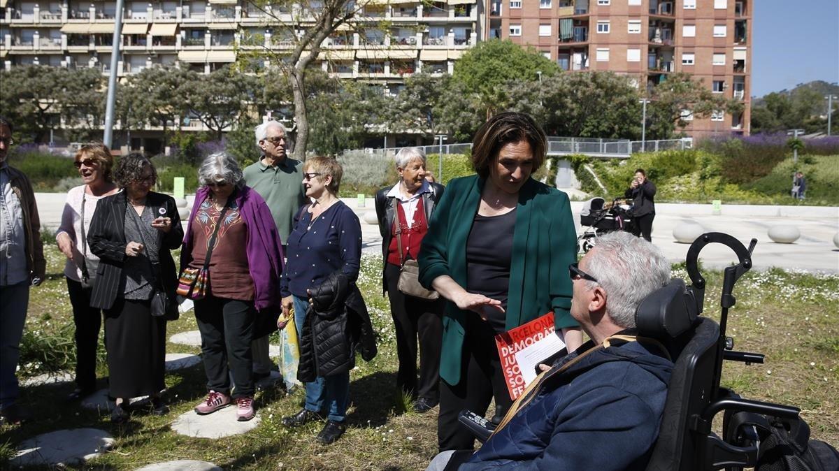 Colau, en la presentación del programa de Barceloa en Comú para la gente mayor.