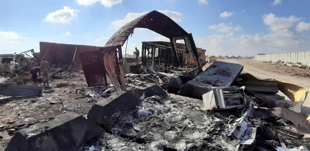Ataque con misiles contra la base de Ain el Asad, en enero de 2020.