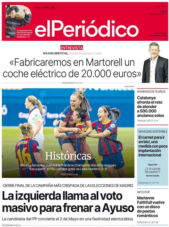 La portada de EL PERIÓDICO del 3 de mayo de 2021