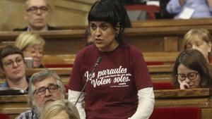 La diputada de la CUP Anna Gabriel, en el Parlament.