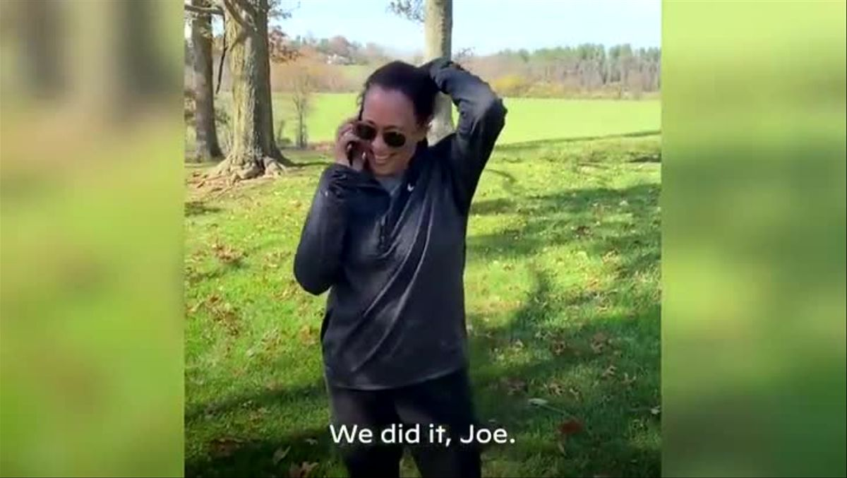 ¡Lo hemos conseguido! ¡Lo hemos conseguido, Joe! Vas a ser el próximo presidente de Estados Unidos, dijo Harris por teléfono, antes de soltar una carcajada de alegría.