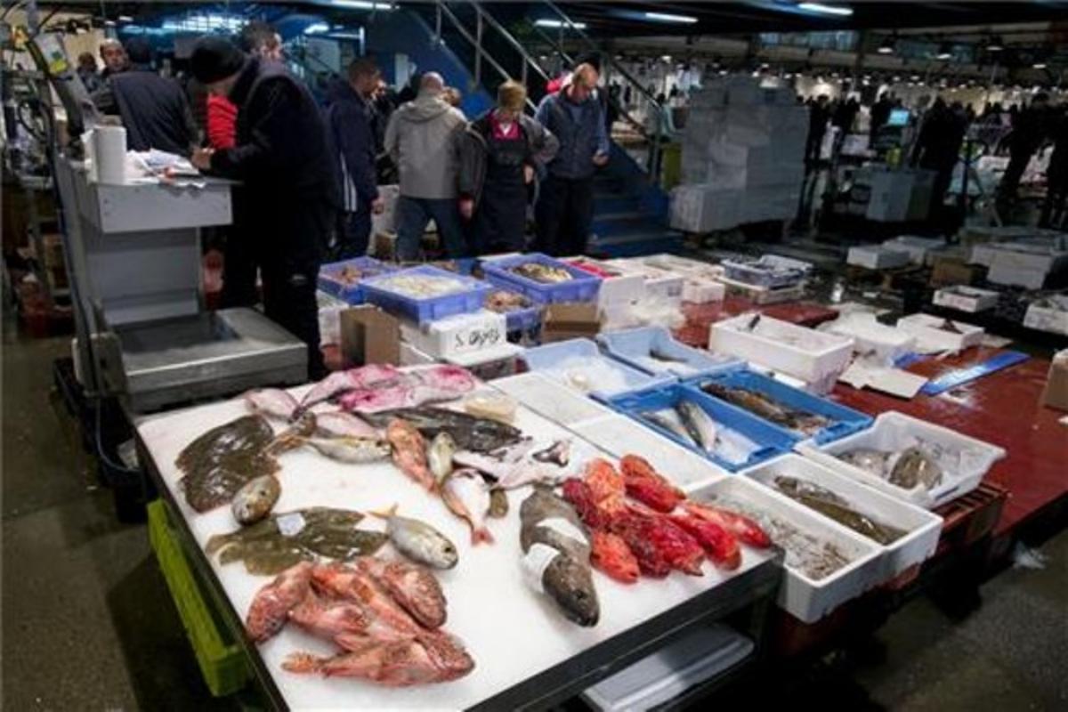 Puesto de pescado en Mercabarna.