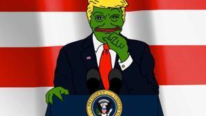 Caricaturización de Trump como la rana Pepe, un meme ultra compartido en 2015 por el presidente.