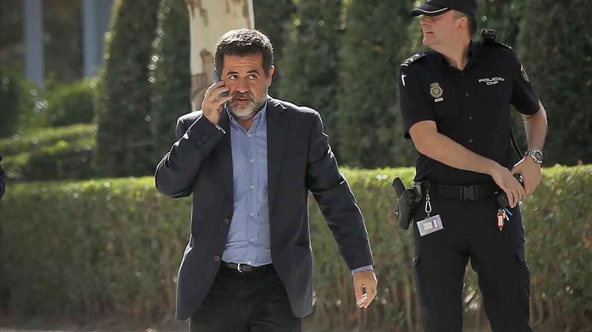 Jordi Sànchez, el pasado 16 de octubre, camino de la Audiencia Nacional.