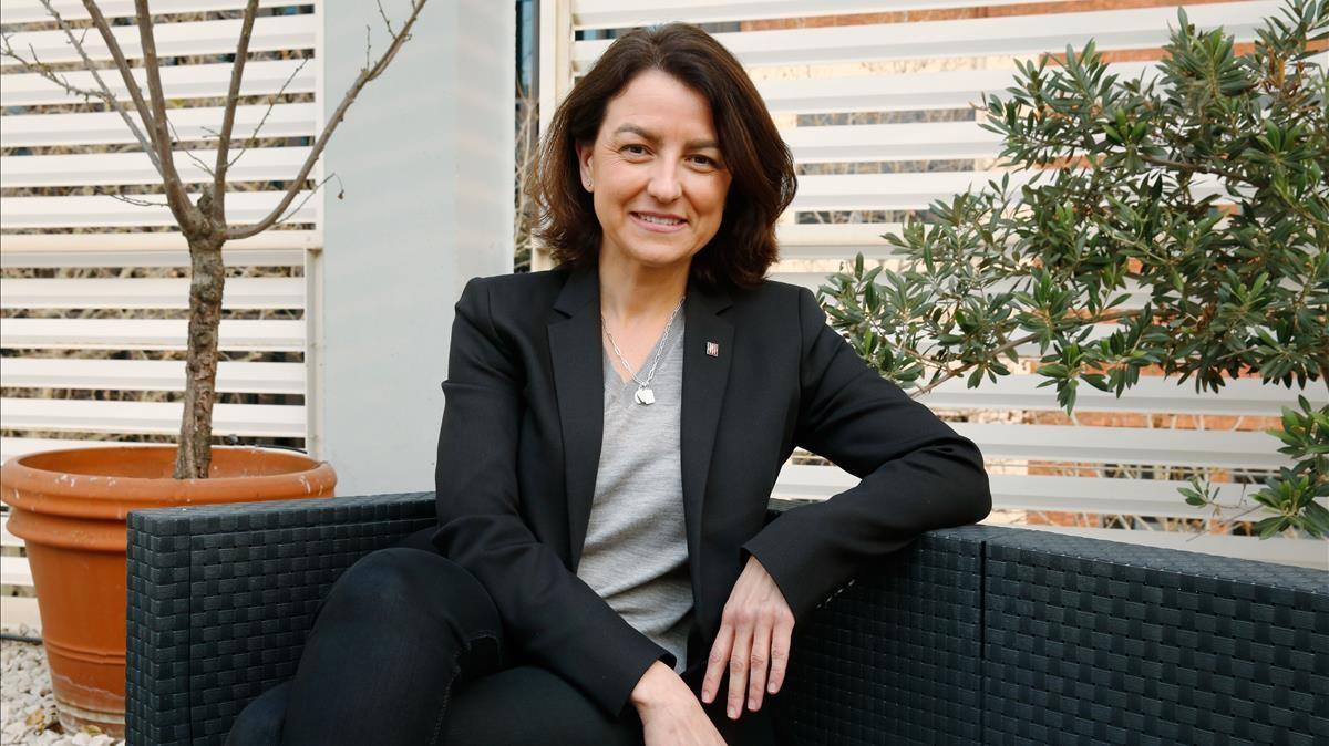 La viceprimera secretaria del PSC, Eva Granados, en la sede del partido en Barcelona.