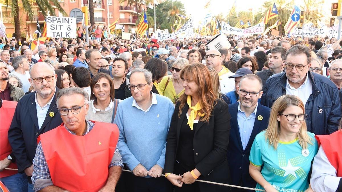 El President de la Generalitat Joaquím Torra assiste a la manifestación.