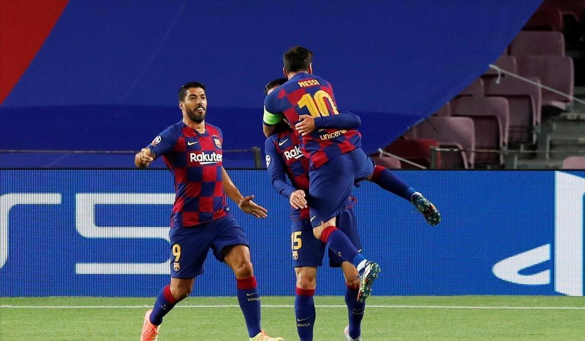 Messi, Suárez y Lenglet celebran el primer tanto del partido