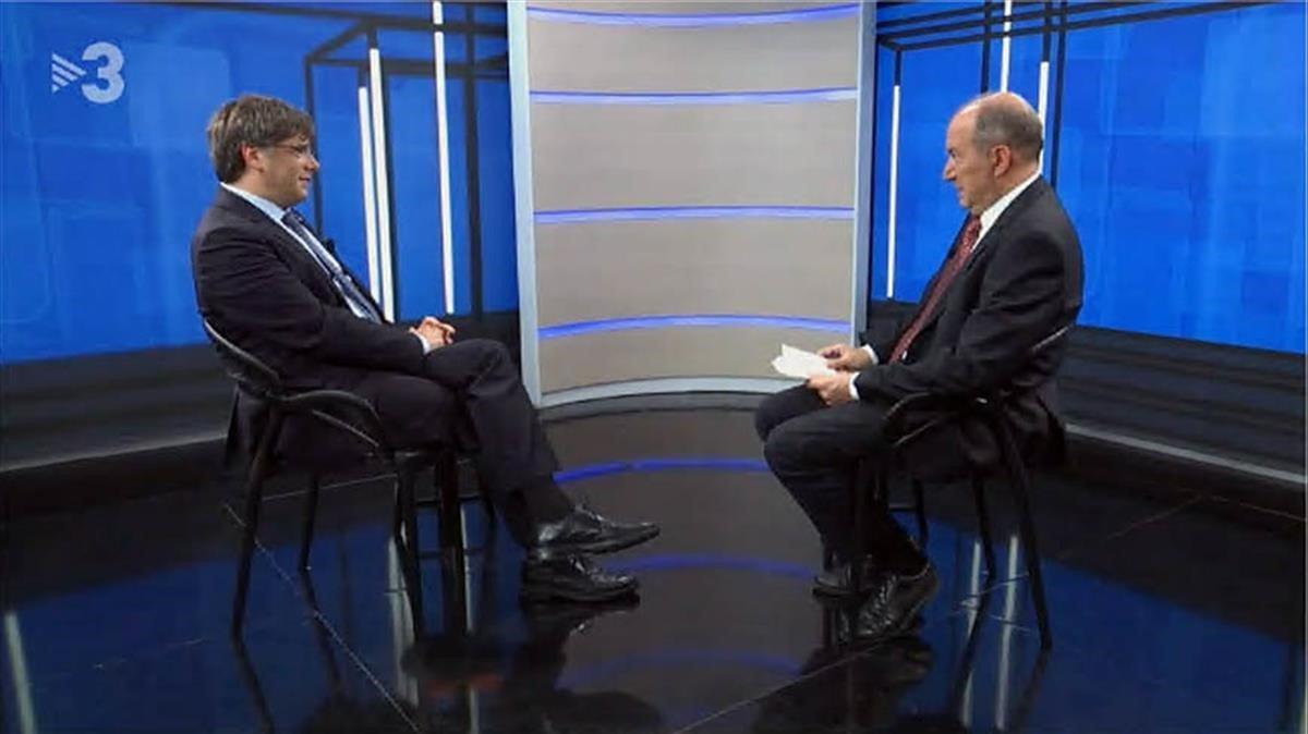 Sanchis y Puigdemont en Bruselas (TV-3)