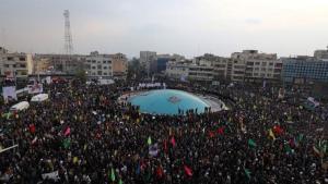 Manifestantes asisten a una protesta multitudinaria en Teherán.