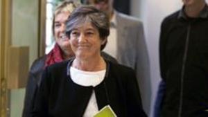 La líder de EH Bildu, Laura Mintegi,a su llegada al Parlamento de Vitoria. EFE / DAVID AGUILAR