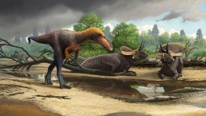 Dibujo del Suskityrannus hazelae, pariente pequeño del Tyrannosaurus rex.