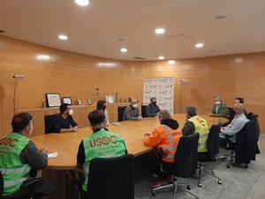 Imagen de la reunión que este jueves tuvo lugar entre el Ayuntamiento de Mollet y los representantes de los trabajadores de Bosch.