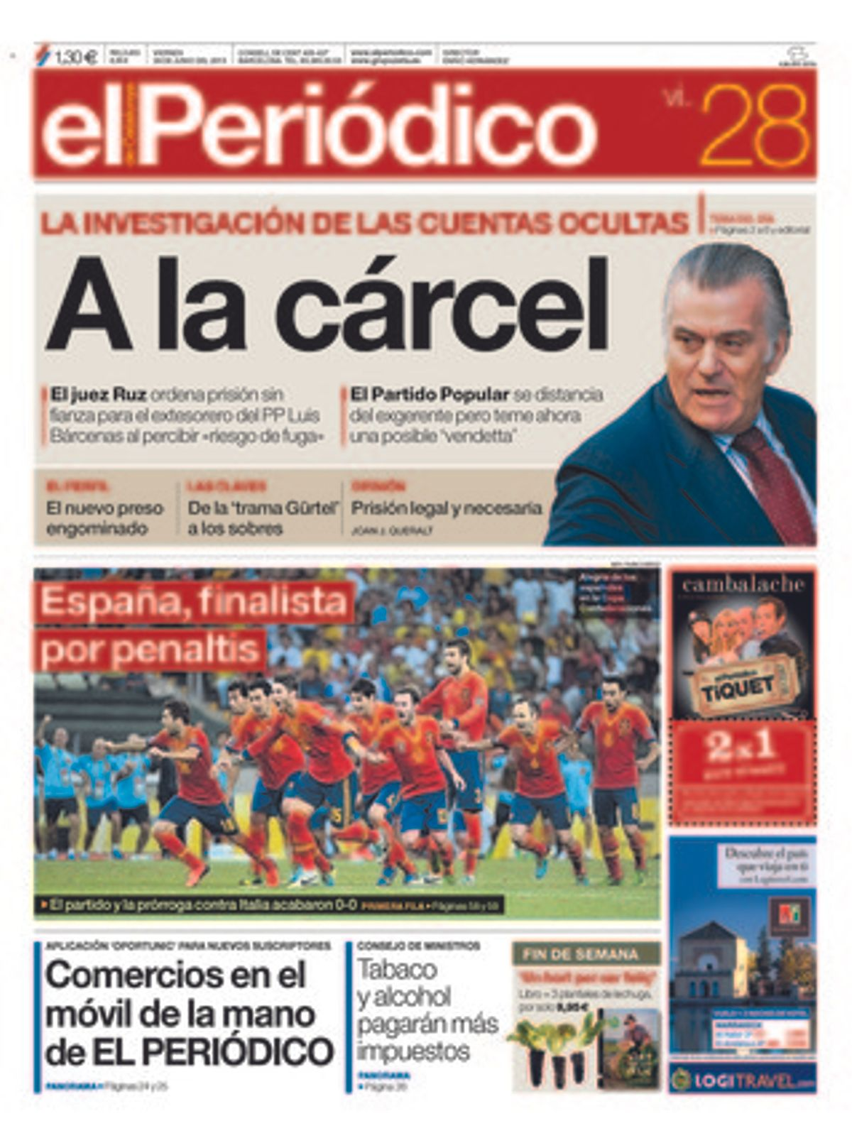 EL PERIÓDICO, 28-6-2013.