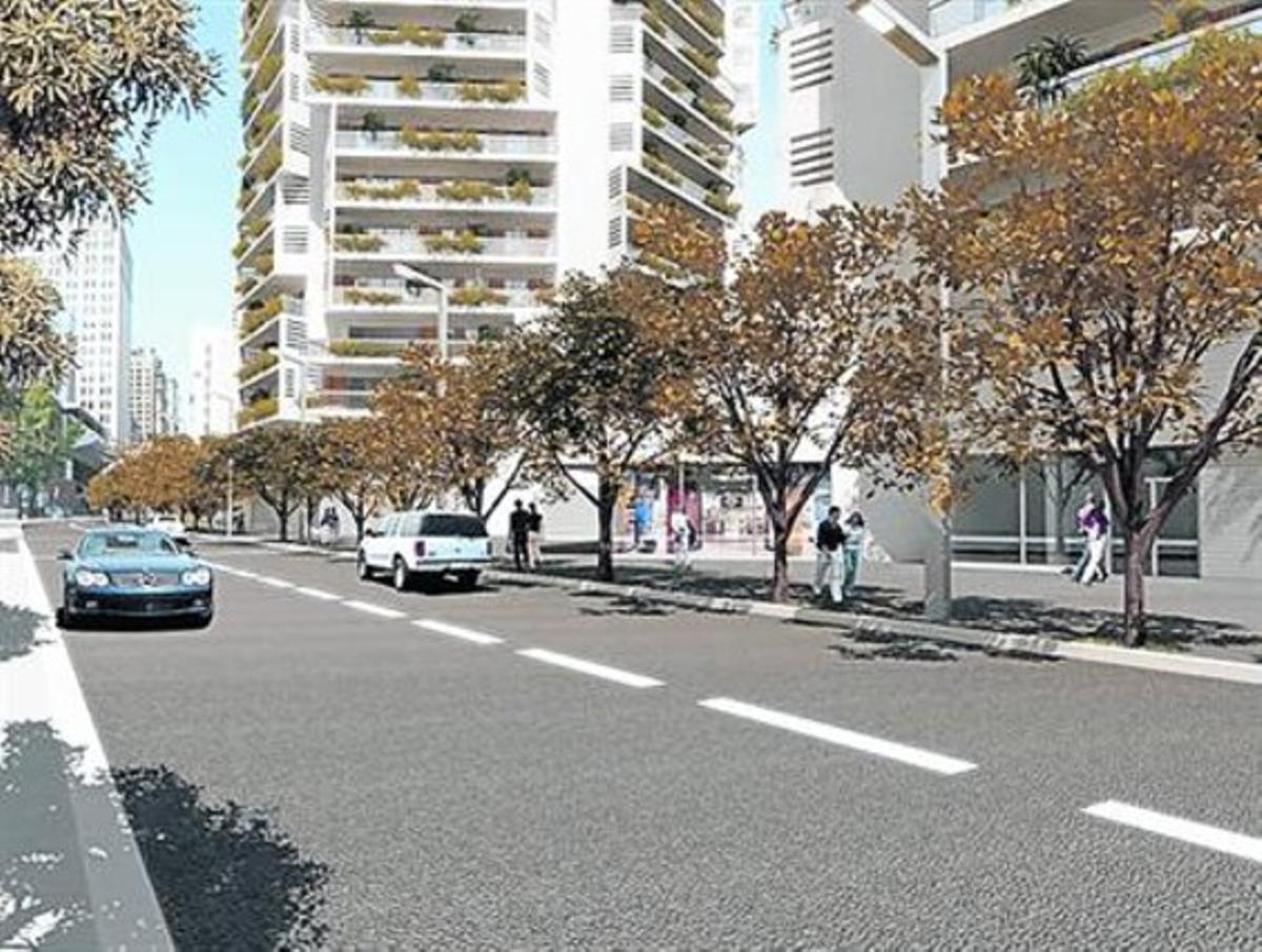 Recreación de la calle de Parcerisa, después de la reforma.