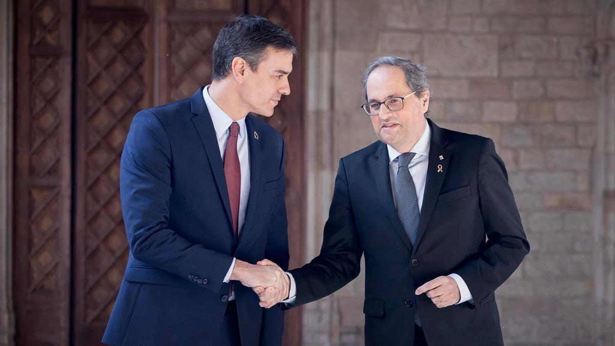 Primera reunión de la mesa de diálogo. En la foto, Pedro Sánchez y Quim Torra durante su encuentro en la Generalitat.