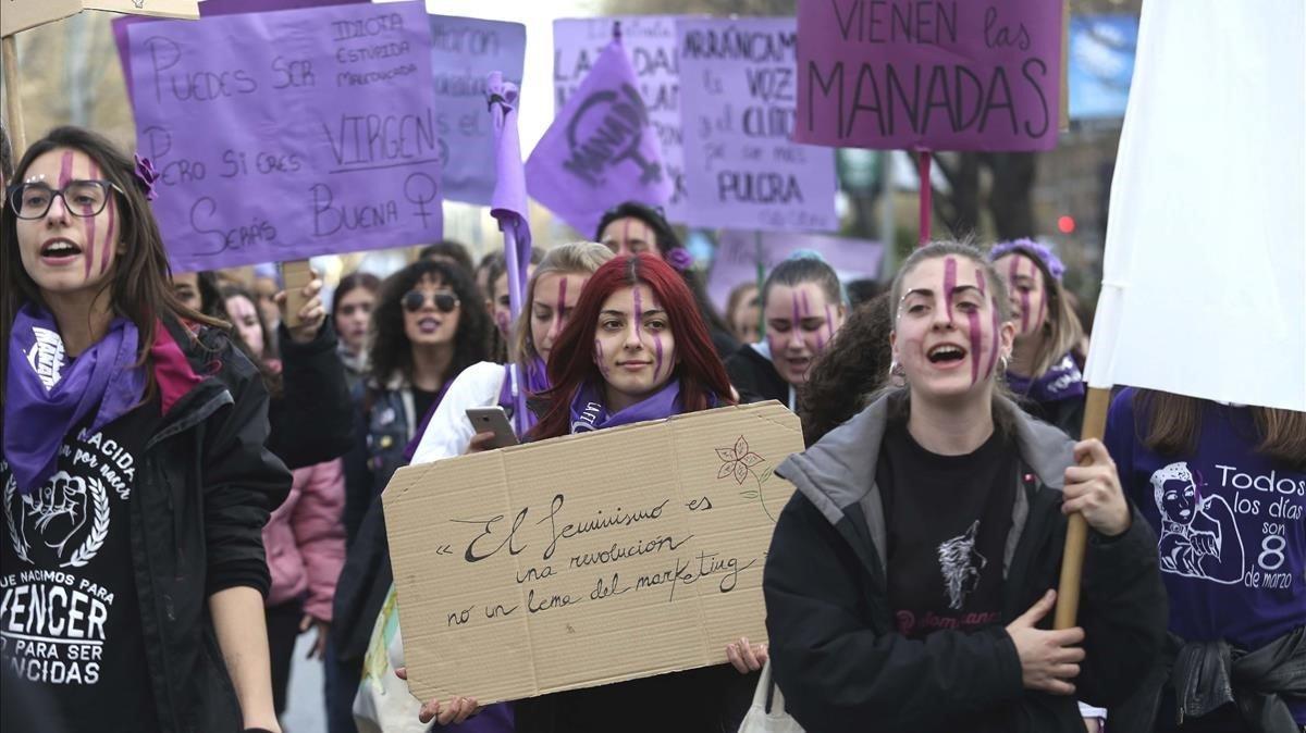 Un aspecto de la manifestación del 8-M en Madrid.