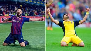 Luis Suárez celebra un gol con el Barça igual como celebró David Villa la conquista de la Liga con el Atlético en su regreso al Camp Nou.