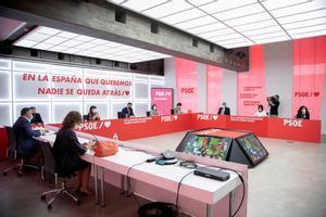 El líder socialista y jefe del Ejecutivo, Pedro Sánchez, preside la reunión de la ejecutiva federal del PSOE de este 7 de septiembre en Ferraz.