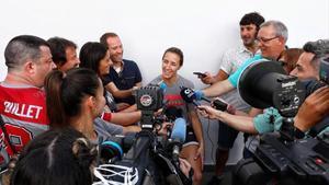 Queralt Casas atiende a los periodistas durante el Mundial que se disputa en Tenerife.
