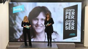 Elsa Artadi y Laura Borràs, en el acto de inicio de campaña de JxCat.