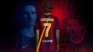 Griezmann, con el siete que lucirá esta temporada en el Barça.