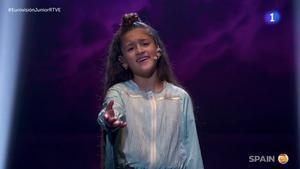 Soleá cantando 'Palante' en Eurovisión Junior 2020.