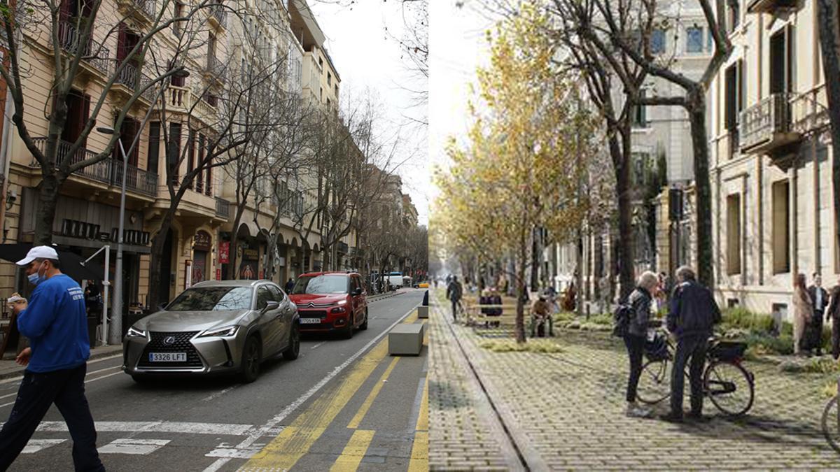 La calle de Consell de Cent, en la actualidad y en un render de cómo será en el futuro.