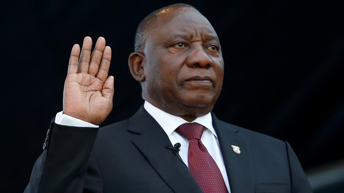 Cyril Ramaphosa, durante el juramento al cargo de presidente de Sudáfrica.