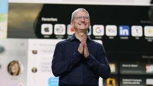 Tim Cook, durante la última conferencia virtual de desarrolladores de Apple, este junio.
