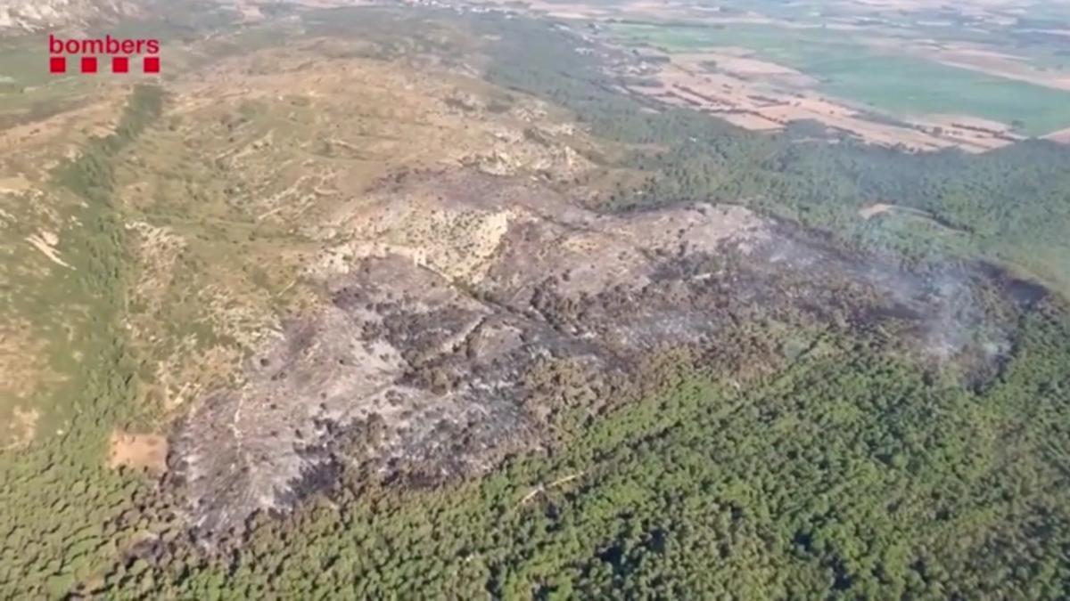 Imágenes aéreas de la zona quemada en el macizo de Montgrí.